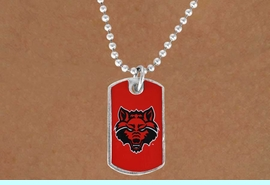 """<Br>             LEAD & NICKEL FREE!!<Br>       STERLING SILVER PLATED!!<bR> W17088N - LICENSED ARKANSAS<Br>STATE UNIVERSITY """"RED WOLVES""""<Br>         """"LIONS"""" DOG TAG LOGO<BR> NECKLACE FROM $1.99"""