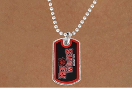 "<Br>             LEAD & NICKEL FREE!!<Br>       STERLING SILVER PLATED!!<bR> W17099N - LICENSED ARKANSAS<Br>STATE UNIVERSITY ""RED WOLVES""<Br>         ""LIONS"" DOG TAG LOGO<BR> NECKLACE FROM $1.99"