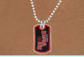 """<Br>             LEAD & NICKEL FREE!!<Br>       STERLING SILVER PLATED!!<bR> W17099N - LICENSED ARKANSAS<Br>STATE UNIVERSITY """"RED WOLVES""""<Br>         """"LIONS"""" DOG TAG LOGO<BR> NECKLACE FROM $1.99"""