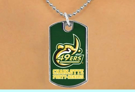 """<Br>                LEAD & NICKEL FREE!!<Br>          STERLING SILVER PLATED!!<bR>   W17103N - LICENSED UNIVERSITY<Br>OF NORTH CAROLINA AT CHARLOTTE<Br>         """"FORTY-NINERS"""" DOG TAG<br>    NECKLACE FROM $3.94 TO $8.75"""