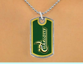 """<Br>                LEAD & NICKEL FREE!!<Br>          STERLING SILVER PLATED!!<bR>   W17105N - LICENSED UNIVERSITY<Br>OF NORTH CAROLINA AT CHARLOTTE<Br>         """"FORTY-NINERS"""" DOG TAG<br>    NECKLACE FROM $3.94 TO $8.75"""
