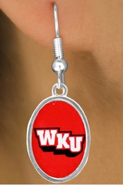 <Br>                  LEAD & NICKEL FREE!!<Br>            STERLING SILVER PLATED!!<bR>       W17110E - LICENSED WESTERN<Br>KENTUCKY UNIVERSITY HILLTOPPERS<bR>      EARRINGS FROM $3.94 TO $8.75