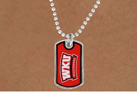 <Br>                  LEAD & NICKEL FREE!!<Br>            STERLING SILVER PLATED!!<bR>       W17112N - LICENSED WESTERN<Br>KENTUCKY UNIVERSITY HILLTOPPERS<Br>     DOG TAG LOGO NECKLACE FROM<BR>                        $3.94 TO $8.75