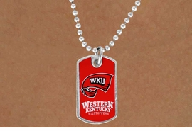 <Br>                  LEAD & NICKEL FREE!!<Br>            STERLING SILVER PLATED!!<bR>       W17114N - LICENSED WESTERN<Br>KENTUCKY UNIVERSITY HILLTOPPERS<Br>     DOG TAG LOGO NECKLACE FROM<BR>                        $3.94 TO $8.75