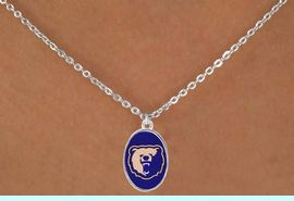 <Br>              LEAD & NICKEL FREE!!<Br>        STERLING SILVER PLATED!!<bR> W17118N - LICENSED MORGAN<BR>            STATE BEARS LOGO <BR>NECKLACE FROM $3.94 TO $8.75