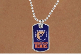 <Br>              LEAD & NICKEL FREE!!<Br>        STERLING SILVER PLATED!!<bR>W17121N - LICENSED MORGAN<Br>      STATE UNIVERSITY BEARS<Br> DOG TAG LOGO NECKLACE FROM<Br>                     $3.94 TO $8.75