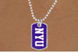 """<Br>                   LEAD & NICKEL FREE!!<Br>             STERLING SILVER PLATED!!<bR>    W19166N - LICENSED NEW YORK <Br>   UNIVERSITY """"NYU"""" LOGO DOG TAG<br>        NECKLACE FROM $3.35 TO $7.50"""