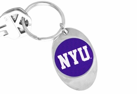 """<Br>            LEAD & NICKEL FREE!!<Br>      STERLING SILVER PLATED!!<bR>W19171KC - LICENSED NEW YORK<Br> UNIVERSITY """"NYU"""" KEY CHAIN <br>         FROM $3.35 TO $7.50"""
