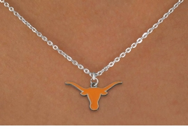 "<Br>             LEAD & NICKEL FREE!!<Br>       STERLING SILVER PLATED!!<bR>W19272N - LICENSED UNIVERSITY <Br>OF TEXAS ""LONGHORNS"" LOGO<Br>NECKLACE FROM $4.50 TO $10.00"