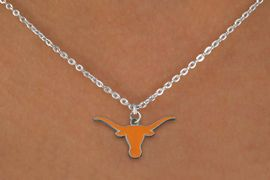 """<Br>             LEAD & NICKEL FREE!!<Br>       STERLING SILVER PLATED!!<bR>W19272N - LICENSED UNIVERSITY <Br>OF TEXAS """"LONGHORNS"""" LOGO<Br>NECKLACE FROM $4.50 TO $10.00"""