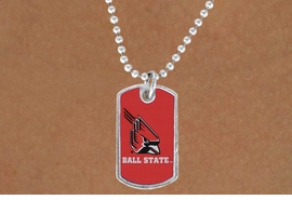 """<Br>               LEAD & NICKEL FREE!!<Br>         STERLING SILVER PLATED!! <bR>W19568N - LICENSED BALL STATE <Br>UNIVERSITY  """"CARDINALS"""" DOG TAG<br>    NECKLACE FROM $3.94 TO $8.75"""