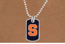 """<Br>               LEAD & NICKEL FREE!!<Br>         STERLING SILVER PLATED!! <bR>W19572N -  LICENSED SYRACUSE <Br>UNIVERSITY """"ORANGE S"""" DOG TAG<br>    NECKLACE FROM $3.94 TO $8.75"""