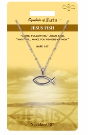 """<Br>               LEAD & NICKEL FREE!!<Br>                SYMBOLS OF FAITH!!<Br>  W15488N - """"JESUS FISH"""" <Br>         NECKLACE WITH GIFT CARD<Br>   AND ENVELOPE AS LOW AS $6.97"""