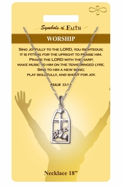 """<Br>               LEAD & NICKEL FREE!!<Br>                SYMBOLS OF FAITH!!<Br>            W15498N - """"WORSHIP"""" <Br>         NECKLACE WITH GIFT CARD<Br>   AND ENVELOPE AS LOW AS $6.97"""