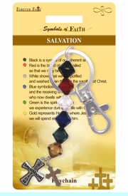 """<Br>              LEAD & NICKEL FREE!!<Br>               SYMBOLS OF FAITH!!<Br>W15576KC - """"SALVATION"""" BEADED<Br>CROSS KEY CHAIN WITH GIFT CARD<Br>  AND ENVELOPE AS LOW AS $2.99"""