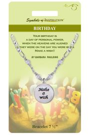 """<Br>               LEAD & NICKEL FREE!!<Br>        SYMBOLS OF INSPIRATION!!<Br>W15337B - """"BIRTHDAY"""" DISC DROP<Br>    BRACELET WITH GIFT CARD AND<Br>        ENVELOPE AS LOW AS $6.97"""