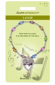 "<Br>              LEAD & NICKEL FREE!!<Br>       SYMBOLS OF INSPIRATION!!<Br>W15352B - MULTI COLOR ""LAUGH""<Br> HEART BRACELET WITH GIFT CARD<Br>  AND ENVELOPE AS LOW AS $8.47"