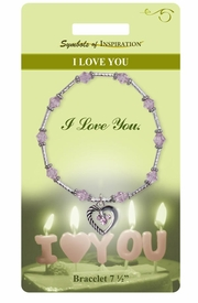 <Br>               LEAD & NICKEL FREE!!<Br>       SYMBOLS OF INSPIRATION!!<Br>  W15353B - AMETHYST COLORED<Br>    AUSTRIAN CRYSTAL ACCENTED<Br>HEART BRACELET WITH GIFT CARD<Br> AND ENVELOPE AS LOW AS $9.47