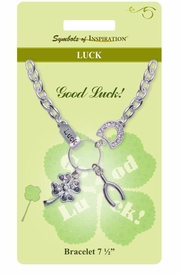 "<Br>               LEAD & NICKEL FREE!!<Br>       SYMBOLS OF INSPIRATION!!<Br>W15355B - ""LUCK"" MULTI CHARM<Br>   BRACELET WITH GIFT CARD AND<Br>       ENVELOPE AS LOW AS $6.97"
