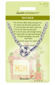 "<Br>             LEAD & NICKEL FREE!!<Br>     SYMBOLS OF INSPIRATION!!<Br>W15357B - ""MOTHER"" AUSTRIAN<Br>    CRYSTAL ACCENTED FLOWER<Br> BRACELET WITH GIFT CARD AND<Br>      ENVELOPE AS LOW AS $6.47"