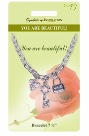 "<Br>             LEAD & NICKEL FREE!!<Br>      SYMBOLS OF INSPIRATION!!<Br>W15369B - ""YOU ARE BEAUTIFUL""<Br>   MULTI CHARM BRACELET WITH<bR>        GIFT CARD AND ENVELOPE<bR>                  AS LOW AS $6.47"