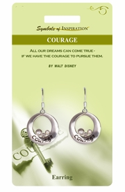 """<Br>              LEAD & NICKEL FREE!!<Br>       SYMBOLS OF INSPIRATION!!<Br>W15402E - """"COURAGE"""" EARRINGS<Br>   WITH GIFT CARD AND ENVELOPE<BR>                   AS LOW AS $5.47"""