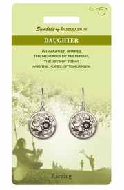 """<Br>              LEAD & NICKEL FREE!!<Br>       SYMBOLS OF INSPIRATION!!<Br>W15403E - """"DAUGHTER"""" EARRINGS<Br>   WITH GIFT CARD AND ENVELOPE<BR>                   AS LOW AS $5.47"""