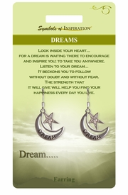 """<Br>                LEAD & NICKEL FREE!!<Br>        SYMBOLS OF INSPIRATION!!<Br>W15404E - """"DREAM"""" MOON & STAR<Br>     EARRINGS WITH GIFT CARD AND<Br>         ENVELOPE AS LOW AS $5.47"""