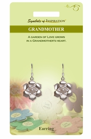 """<Br>               LEAD & NICKEL FREE!!<Br>        SYMBOLS OF INSPIRATION!!<Br>      W15408E - """"GRANDMOTHER"""" <Br> AUSTRIAN CRYSTAL & FAUX PEARL<Br>FLOWER EARRINGS WITH GIFT CARD<Br>   AND ENVELOPE AS LOW AS $5.47"""