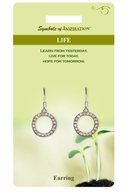 """<Br>            LEAD & NICKEL FREE!!<Br>     SYMBOLS OF INSPIRATION!!<Br>  W15411E - AUSTRIAN CRYSTAL<Br>""""LIFE"""" RINGLET DROP EARRINGS<Br>WITH GIFT CARD AND ENVELOPE<BR>                 AS LOW AS $5.47"""