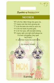 """<Br>           LEAD & NICKEL FREE!!<Br>   SYMBOLS OF INSPIRATION!!<Br>W15412E - """"MOTHER"""" FLOWER<Br>EARRINGS WITH GIFT CARD AND<BR>    ENVELOPE AS LOW AS $5.47"""