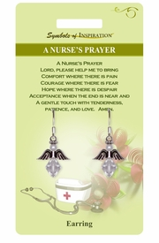 """<Br>            LEAD & NICKEL FREE!!<Br>    SYMBOLS OF INSPIRATION!!<Br>W15413E - """"A NURSE'S PRAYER""""<Br> EARRINGS WITH GIFT CARD AND<BR>     ENVELOPE AS LOW AS $5.47"""