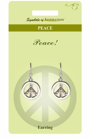 """<Br>          LEAD & NICKEL FREE!!<Br>   SYMBOLS OF INSPIRATION!!<Br>W15414E - AUSTRIAN CRYSTAL<Br>""""PEACE"""" SIGN EARRINGS WITH<Br>     GIFT CARD AND ENVELOPE<BR>               AS LOW AS $5.47"""