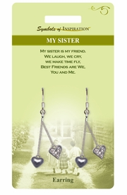 """<Br>             LEAD & NICKEL FREE!!<Br>      SYMBOLS OF INSPIRATION!!<Br>    W15415E - """"MY SISTER"""" TWO<Br>HEART EARRINGS WITH GIFT CARD<BR> AND ENVELOPE AS LOW AS $5.47"""
