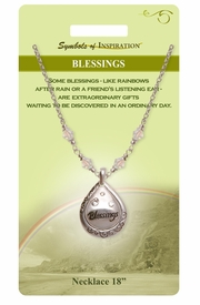 """<Br>                LEAD & NICKEL FREE!!<Br>        SYMBOLS OF INSPIRATION!!<Br> W15439N - """"BLESSINGS"""" FILIGREE<Br>    TEARDROP NECKLACE WITH GIFT<BR>CARD & ENVELOPE AS LOW AS $9.47"""