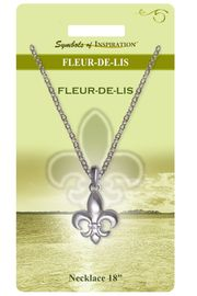 """<Br>                LEAD & NICKEL FREE!!<Br>        SYMBOLS OF INSPIRATION!!<Br>           W15446N- SILVER TONE<Br>        """"FLEUR-DE-LIS"""" NECKLACE<Br>    WITH GIFT CARD AND ENVELOPE<Br>                    AS LOW AS $7.97"""