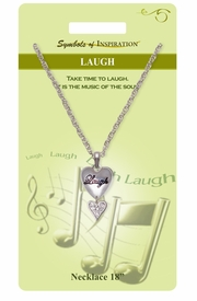 """<Br>               LEAD & NICKEL FREE!!<Br>        SYMBOLS OF INSPIRATION!!<Br>           W15454N - """"LAUGH"""" HEART <Br>           NECKLACE WITH GIFT CARD<Br>   AND ENVELOPE AS LOW AS $7.97"""