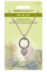 """<Br>               LEAD & NICKEL FREE!!<Br>        SYMBOLS OF INSPIRATION!!<Br>      W15467N - """"THANK YOU""""<BR>        AUSTRIAN CRYSTAL HEART<BR>          NECKLACE WITH GIFT CARD<Br>   AND ENVELOPE AS LOW AS $7.97"""