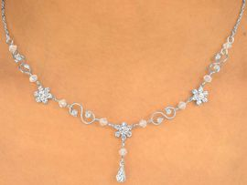 <BR>                       LEAD & NICKEL FREE!!<bR> W10174NE - GENUINE AUSTRIAN CRYSTAL<Br>  FLOWER DROP & CLEAR BEAD NECKLACE<Br>   & EARRING SET FROM $14.63 TO $27.00