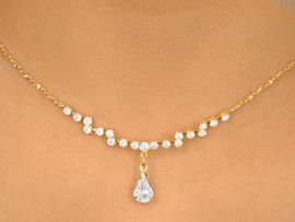 <BR>                  LEAD & NICKEL FREE<bR> W10284NE - POLISHED GOLD FINISH<br>       AUSTRIAN CRYSTAL ZIG-ZAG &<BR>          CLEAR TEARDROP NECKLACE<Br>                FROM $9.75 TO $18.00