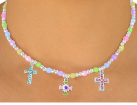 "<bR>                 LEAD & NICKEL FREE!!<Br>W10509NBRA - CHILDREN'S LEAD &<Br>  NICKEL FREE ""CROSSES"" STRETCH<Br>  NECKLACE, BRACELET, & RING SET<bR>ASSORTMENT"