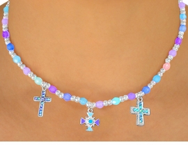 """<bR>                 LEAD & NICKEL FREE!!<Br>W10509NBRA - CHILDREN'S LEAD &<Br>  NICKEL FREE """"CROSSES"""" STRETCH<Br>  NECKLACE, BRACELET, & RING SET<bR>ASSORTMENT FROM $4.84 TO $10.75"""