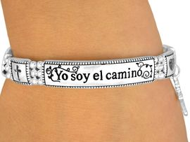 "<bR>                   LEAD & NICKEL FREE!!<br>    W10572B - POLISHED SILVER FINISH<Br>          SPANISH ""YO SOY EL CAMINO""<BR>           ""I AM THE WAY..."" RELIGIOUS<br>STRETCH BRACELET FROM $4.50 TO $10.00"