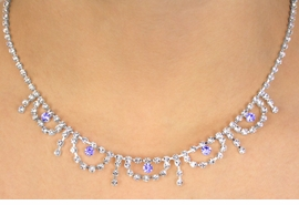 <BR>                     LEAD & NICKEL FREE!!<bR> W10765NE - AMETHYST PURPLE & CLEAR<br>  AUSTRIAN CRYSTAL WAVES & STRANDS<Br>                NECKLACE & EARRING SET<Br>                  FROM $17.90 TO $33.00