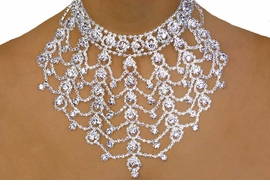 <BR>                       LEAD & NICKEL FREE!!<bR> W10789NE - GENUINE AUSTRIAN CRYSTAL<br> FLORAL WEB-LIKE NECKLACE & EARRING<bR>           SET YOUR LOW PRICE IS $129.50
