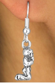 <BR>              LEAD & NICKEL FREE!!<bR>     W11659E - STERLING SILVER<Br>PLATED KNEELED PRAYING CHILD<Br>EARRINGS FROM $2.45 TO $4.25