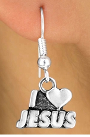 "<Br>       LEAD & NICKEL FREE!!<br>W11668E - STERLING SILVER<Br>      PLATED ""I LOVE JESUS""<Br>EARRINGS FROM $3.25 TO $8.00"