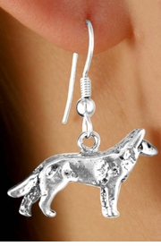 <Br>        LEAD & NICKEL FREE!!<Br>W12001E - STERLING SILVER<Br>     PLATED WOLF EARRINGS<br>                  FROM $4.85