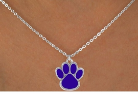 <Br>        LEAD & NICKEL FREE!!<Br>W12023N - STERLING SILVER<Br>     PLATED BLUE PAW DROP<br> NECKLACE AS LOW AS $3.25