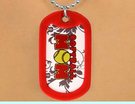 """<Br>               LEAD & NICKEL FREE!!<Br>W12206N - RED """"SOFTBALL MOM""""<Br>DOG TAG & BALL CHAIN NECKLACE<Br>                   AS LOW AS $3.45"""